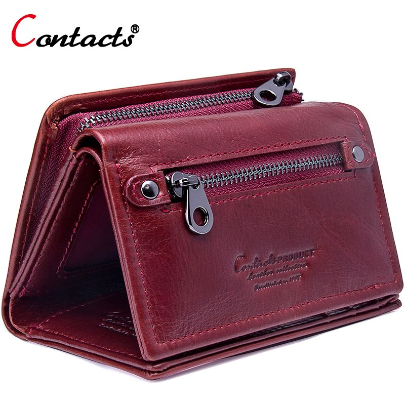 Contact's Women Wallet Genuine Leather 2018 Female Coin Purse Trifold Zipper Cash Photo Card Holder Wallet For Women Card Wallet