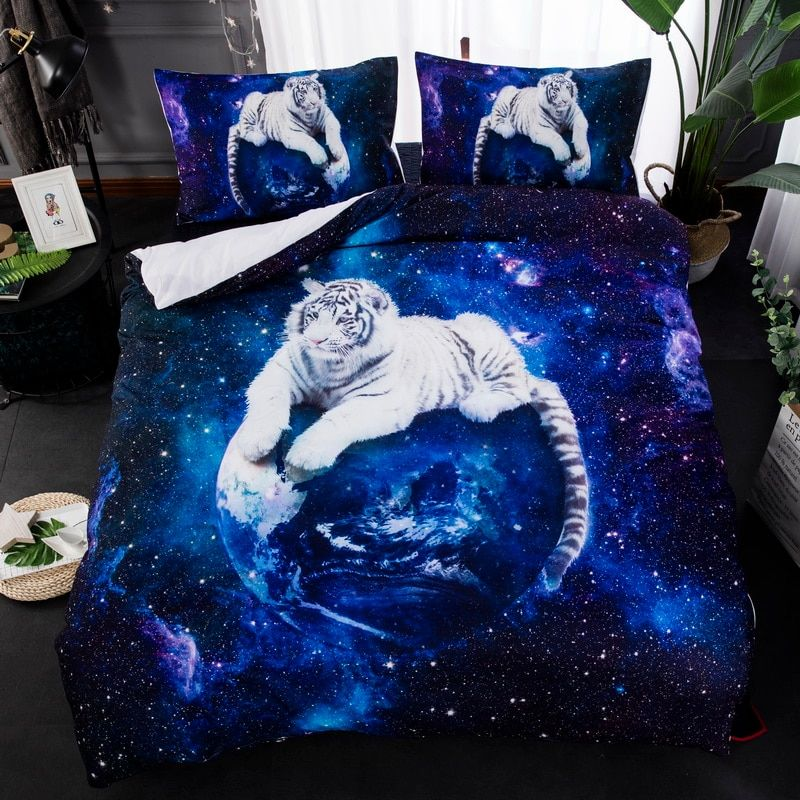3D wolf tiger wolves starry sky snow animal grey twin king queen double full bedclothes pillowcase duvet cover set bedding set