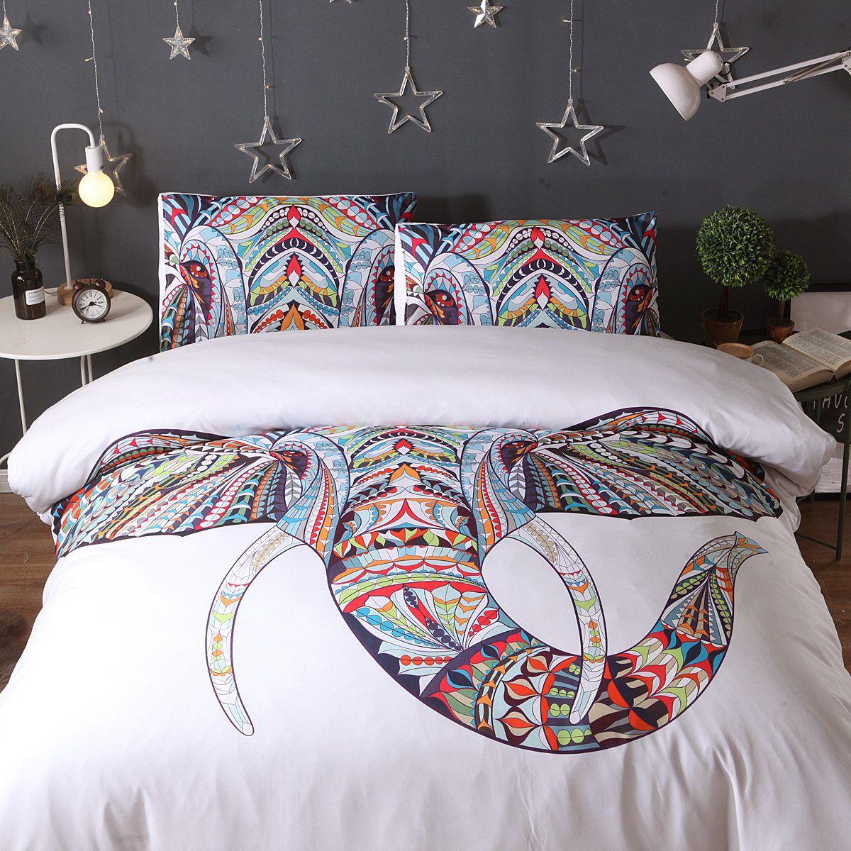 Tribal Elephant Bedding Set 3pcs duvet cover and pillow case Indian God Ganesha 200*200 /228 * 228 / 230*260 Outlets