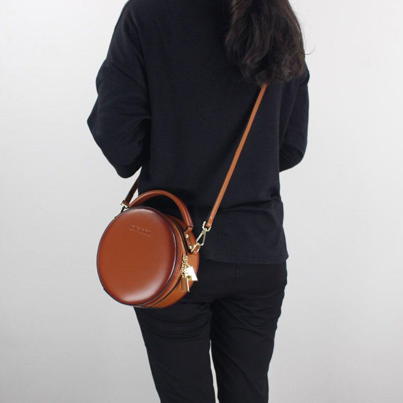 Fashion Mini Women Handbag Genuine Leather 2018 New One Shoulder Cross-body Bags Lady Small Messenger Bag Round Sling Bag