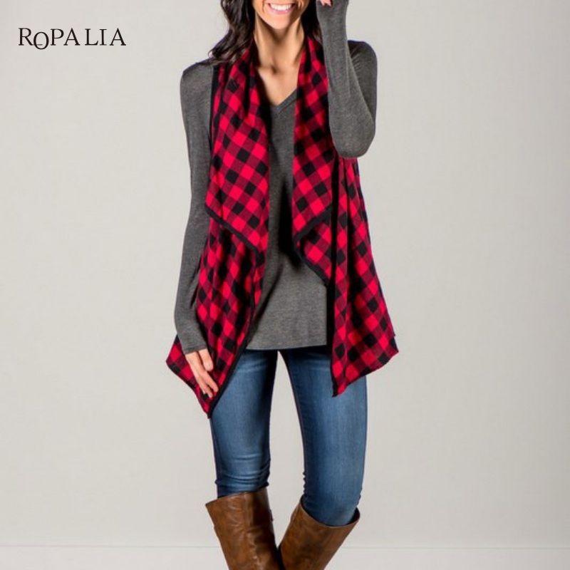 Осень-весна Для женщин жилет куртка без рукавов Повседневное свободные жилет решетки открытый кардиган