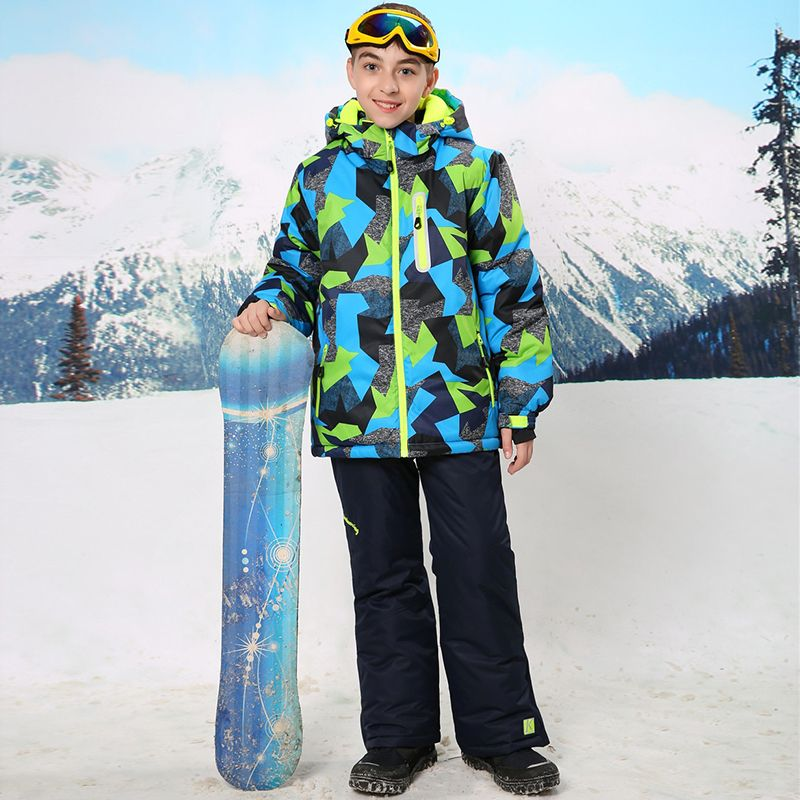 Waterproof Index 15000mm Warm Coat Ski Suit Windproof Boys Jackets Kids Clothes Sets Children Outerwear For 3-16 Years Old