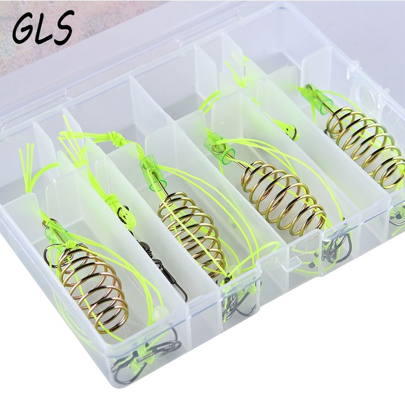 fishing hook For fishing 4 pc fishing feeder Bomb Proof Hanging Explosion Hook Fish Bait Plastic box packing combination