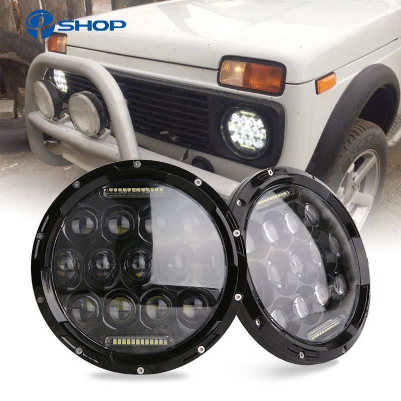 2x 75W 7'' Led Headlight H4 H13 High Low Beam Round Cars Running Lights for Jeep Lada Niva 4x4