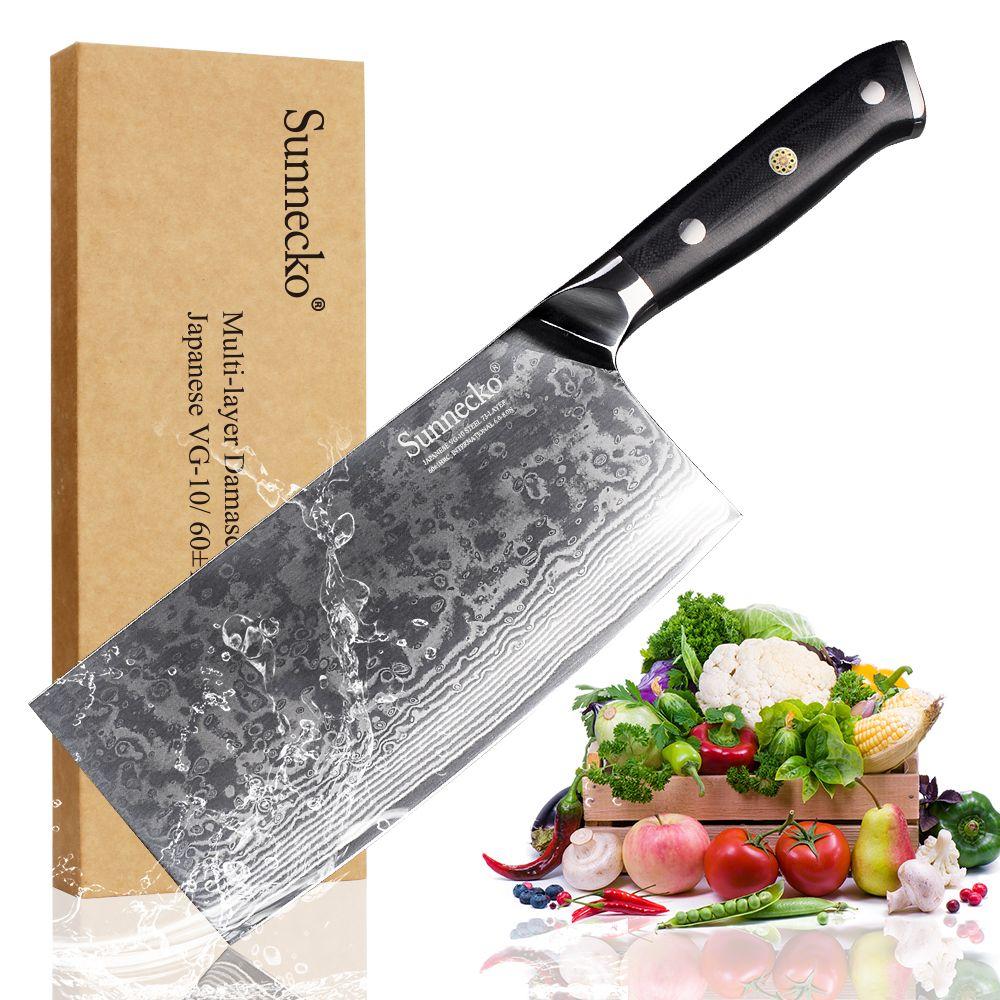SUNNECKO 7 zoll Hackmesser Hacken Messer Damaskus Stahl Neue Hohe Qualität Chinesischen Schneiden Messer VG10 Chef Kochen Chopper