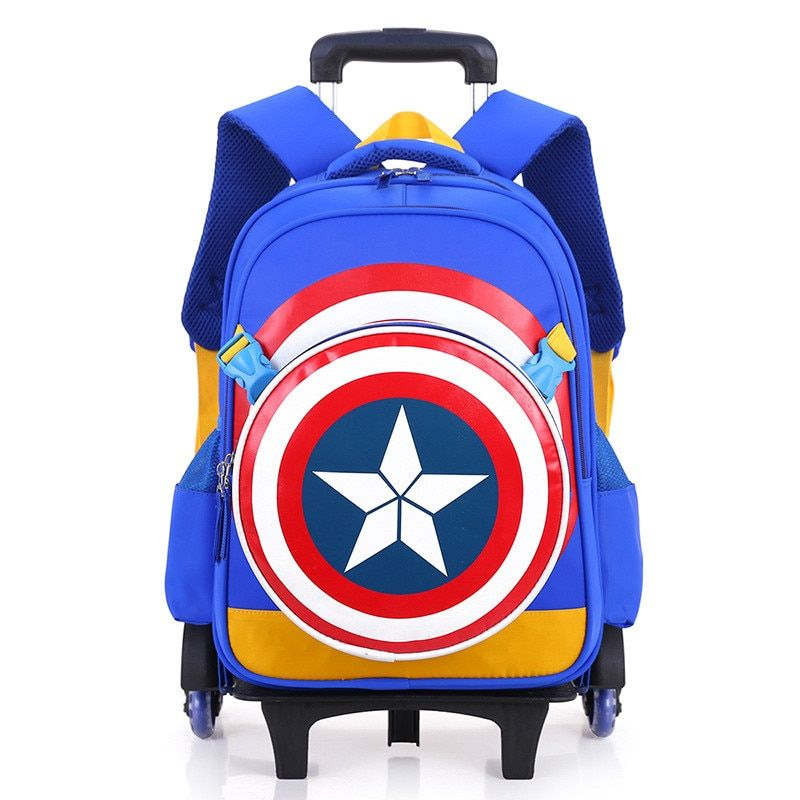 2PCS/SET Children School Bags Removable Boys Girls Trolley Backpack 6 Wheels Child Climb Stair Kids Rolling Backpacks