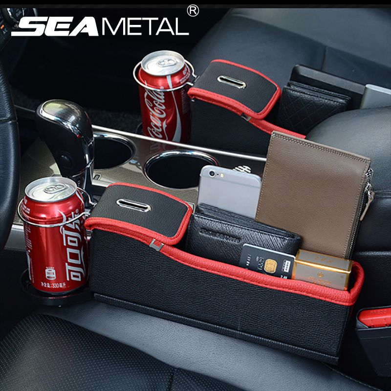 Car <font><b>Seat</b></font> Crevice Storage Box Cup Drink Holder Organizer Auto Gap Pocket Stowing Tidying For Phone Pad Card Coin Case Accessories