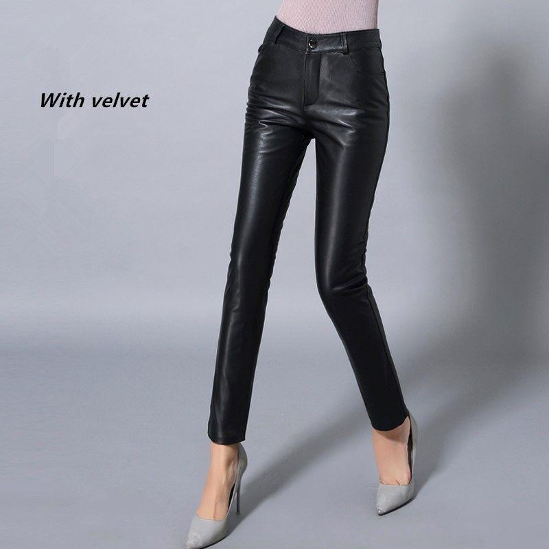 Winter New Arrive Sheepskin Genuine Leather Pants Female Pencil Pants Plus Velvet Thickening Genuine Leather Skinny Pants