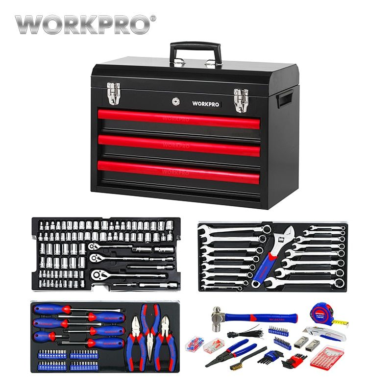 WORKPRO 408PC Metal Tool Box Set Hand Tools Home Tool Set