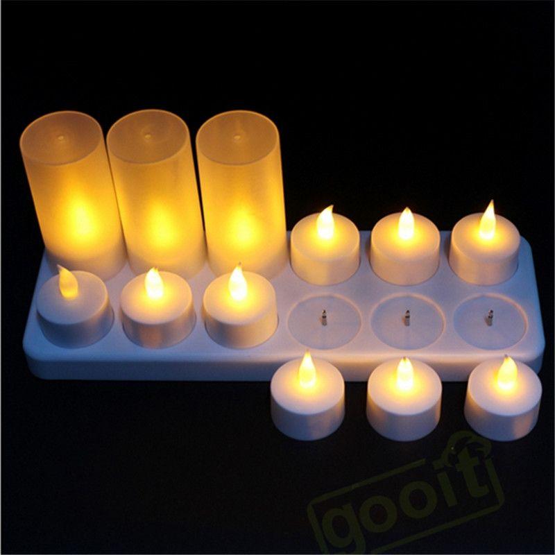Le thé Rechargeable de bougies LED de scintillement jaune allume la lampe de bougie/bougies décoratives à piles pour épouser