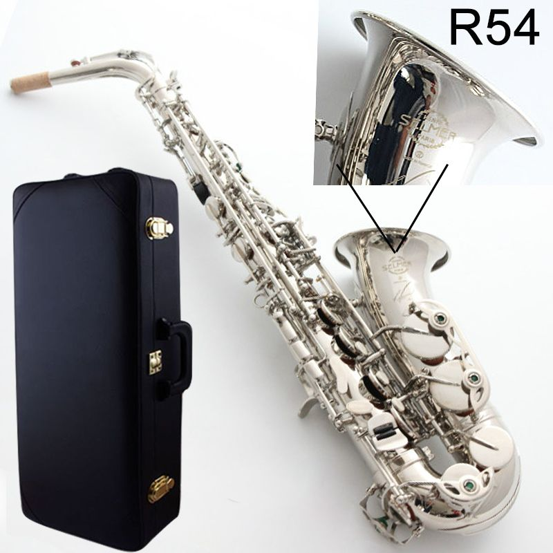 Neue Alto Saxophon Frankreich Selme SAS R54 Eb Flache Saxofone Nickel silber Messing Sax Professionelle musical instrument Fall, Mundstück