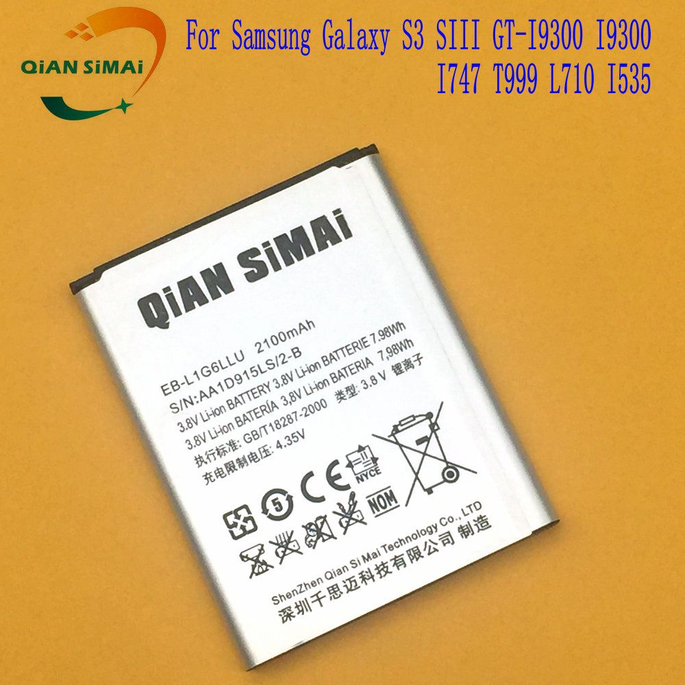 QiAN SiMAi 1PCS 2017 New EB-L1G6LLU EB L1G6LLU Battery For Samsung Galaxy S3 SIII GT-I9300 I9300 I747 T999 L710 I535 phone