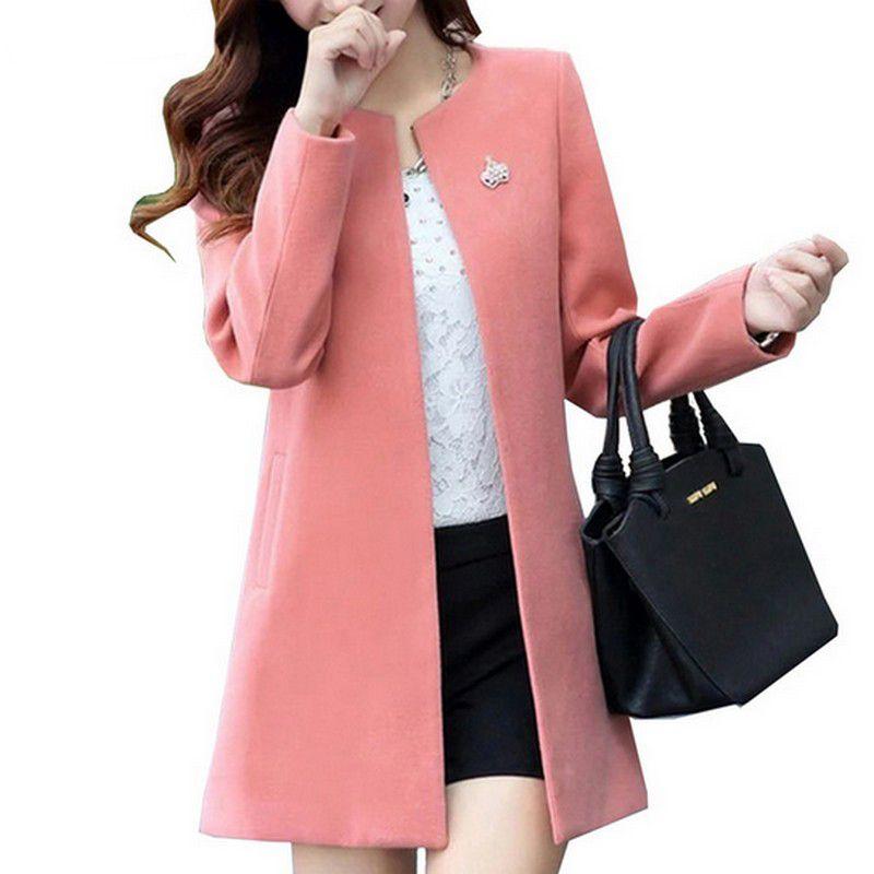 Mode col rond à manches longues femmes manteaux S-XXL couleur unie Casaco Feminino lâche Cardigan 2019 automne mince vêtements d'extérieur