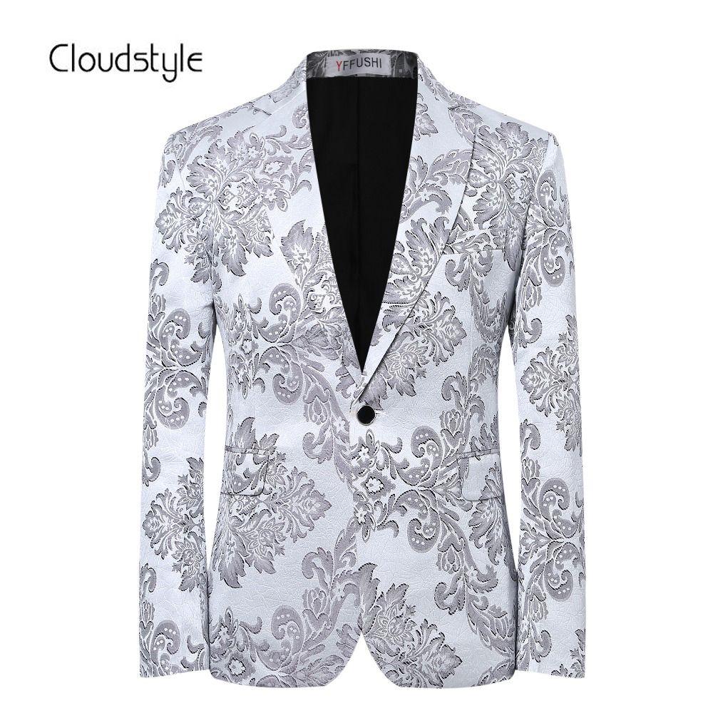 Men <font><b>Dress</b></font> Blazer Flower Print Jacket Brand Custom Fit Casual Business Blazer Suit Male Wedding Formal Blazer Terno Masculino