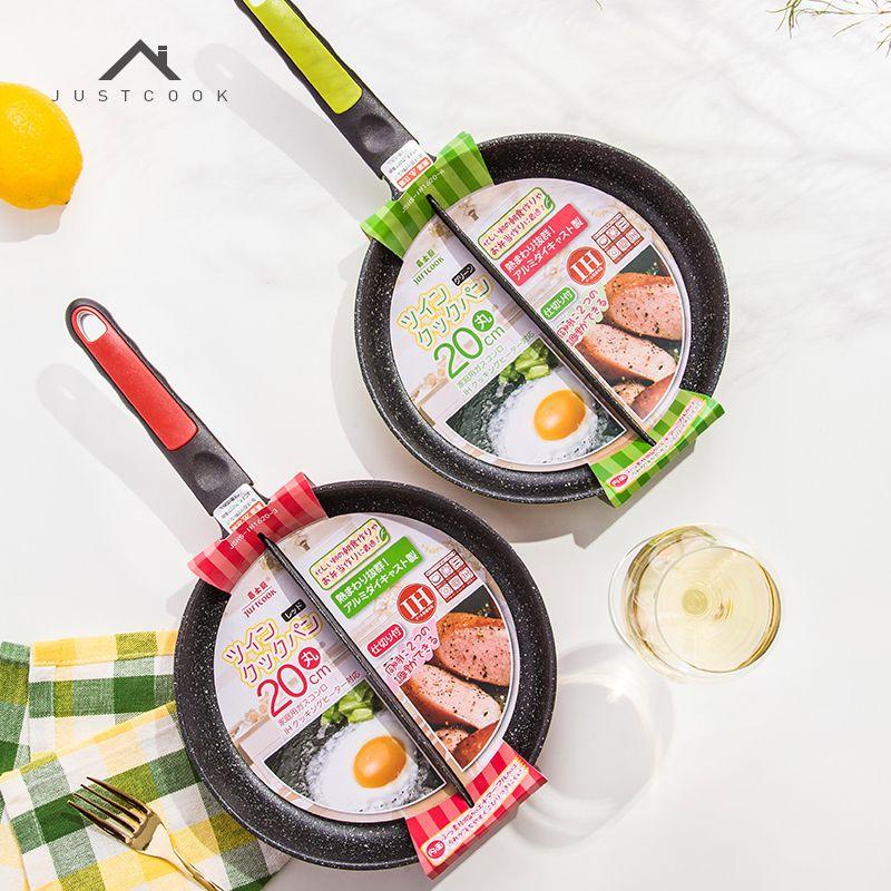 Justcook 20 CM Petit Déjeuner Poêle Non-Bâton 2 en 1 Poêle Non-Fumée Divisé Grill Pour frit Oeufs et Bacon