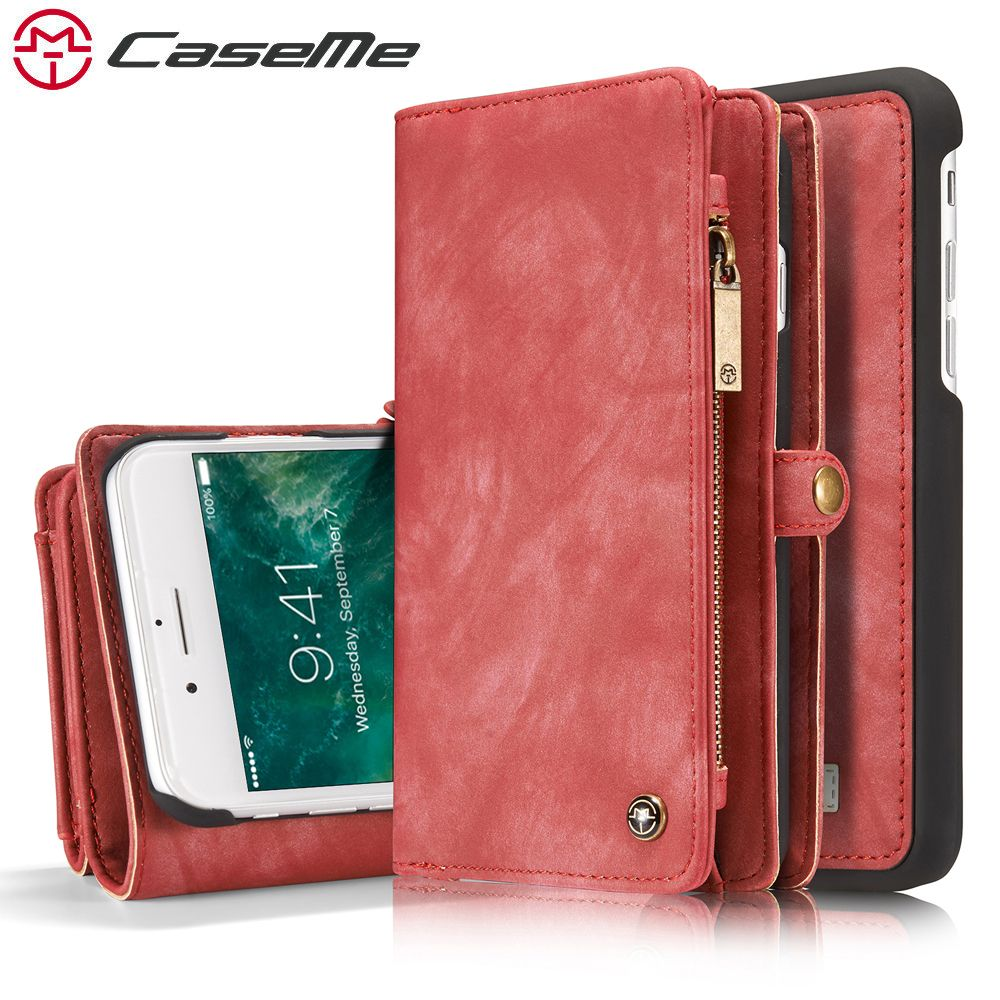 CaseMe For iPhone 7 7 Plus Luxury Retro Leather Zipper Multifunction 2 In 1 Phone Cases Card Slot Wallet Cover Back Case