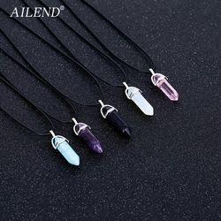 AILEND 2018 Новый горячий шестиугольный кристалл тигровый глаз turquoises pendentif Аметист Камень Подвесные цепи ожерелье для женщин ювелирные изделия