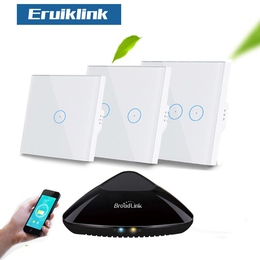 Eruiklink EU/UK 1/2/3 Gang RF433 Remote Wall Light Switch,Wireless Control White Crystal Glass Panel Touch Switch for Smart Home