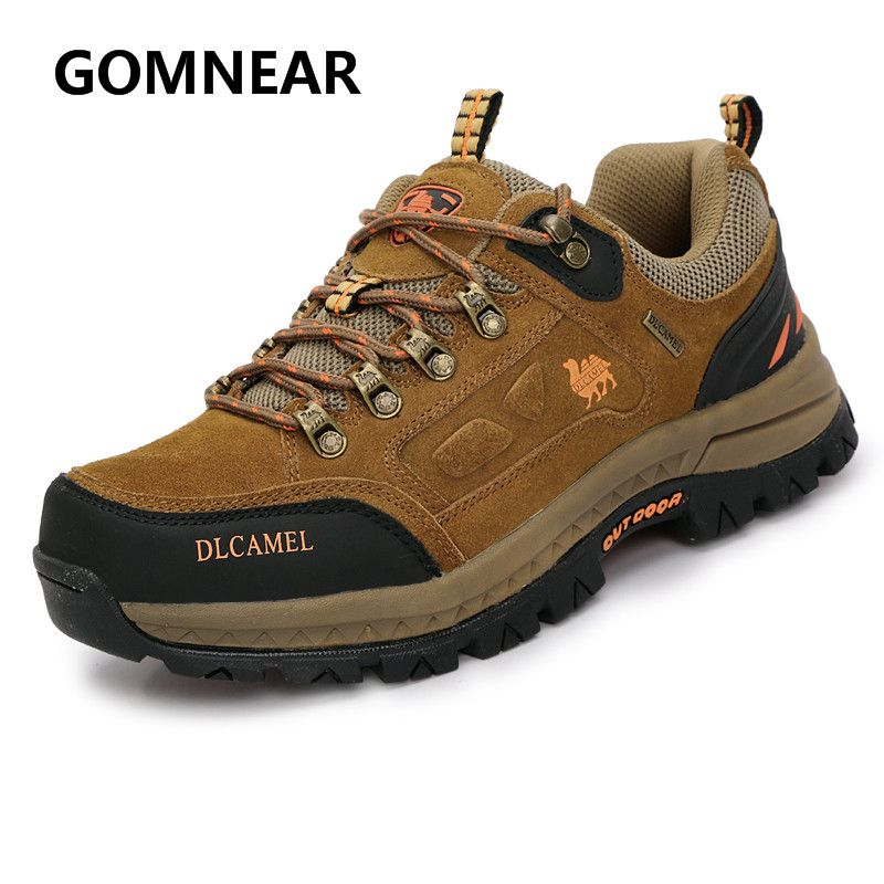 GOMNEAR Camel <font><b>Shoes</b></font> Men Genuine Leather Hiking <font><b>Shoes</b></font> Winter Sneakers Outdoor Tourism Hiking Boots Fishing <font><b>Shoes</b></font> Male Big Size
