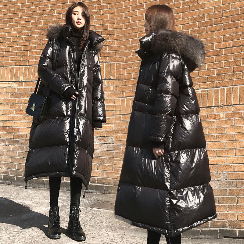 2019 winter frauen unten mantel mode marke mit großen pelz kragen mit kapuze warme daunen jacke weibliche länger mantel freies verschiffen