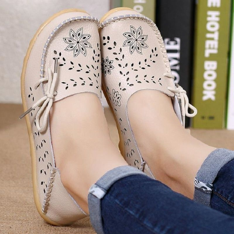 Women Flats Shoes Moccasins Mother Loafers Soft Genuine Leather Ladies Casual Shoes Flats Driving Women Footwear Shoes DTT679