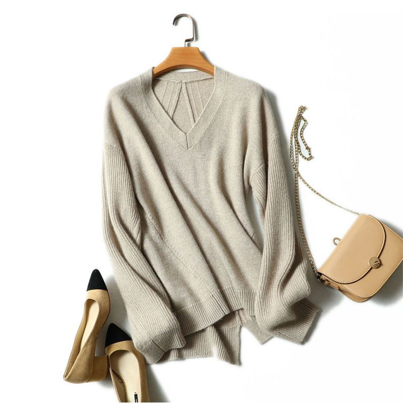2018 Autumn Fashion V-neck Womens Sweater Cashmere Pullovers High Quality 100% Pure Cashmere Sweater Long Sleeves Korea Sweater