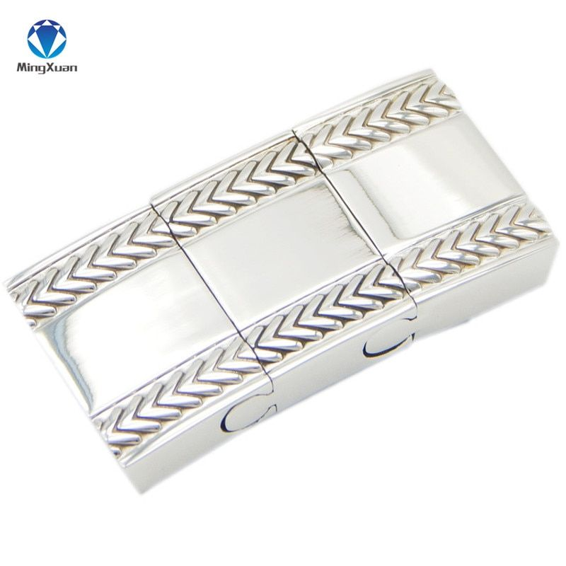 1 pièces acier inoxydable plaqué argent 18*4 MM fermoirs magnétiques résultats de bijoux fit cordon en cuir hommes Bracelet faisant bricolage