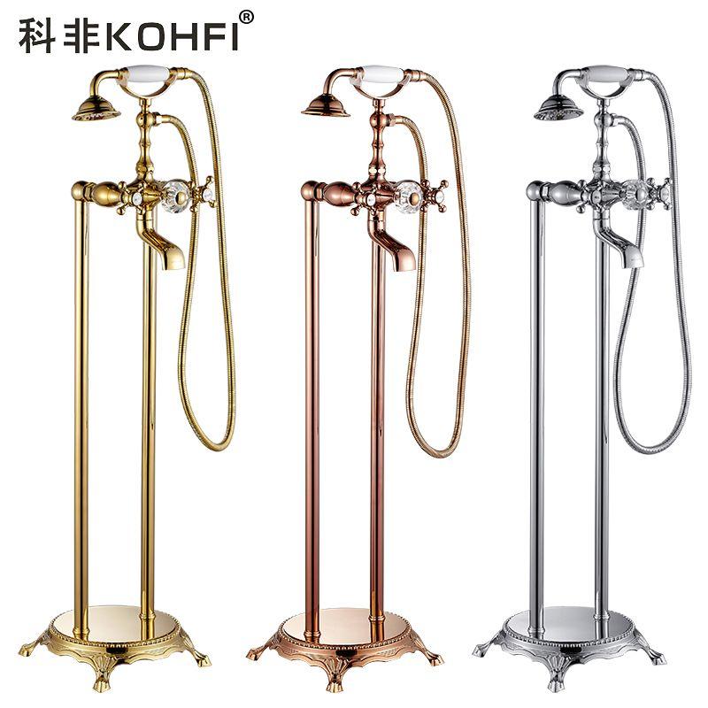 Badewanne Armaturen Retro Gold Rose Bodenständer Bad Wasserhahn Set Regen Dusche Handheld Kristall Telefon Typ Mischbatterie YD-993