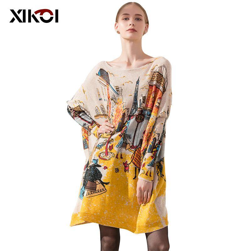 XIKOI Oversize Casual Femmes Long Pull Manches Chauve-Souris Lâche Pulls Femmes de Couleurs D'impression Vêtements De Mode Taille Libre 2019