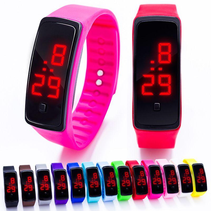 Дети смотрят LED Спортивные часы Для мужчин Для женщин силиконовые электронные цифровые часы студент наручные браслет для мальчиков и девоч...