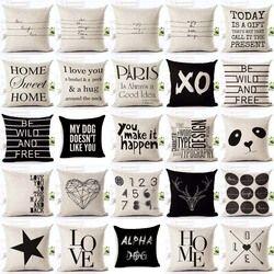 Lettre Amour Maison housses de Coussin Coton lin Noir Blanc taie d'oreiller Canapé lit Nordique décoratif taie d'oreiller almofadas 45x45 cm