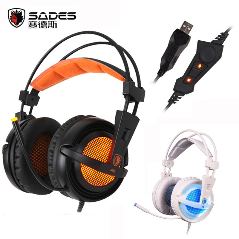 Sades A6 USB 7.1 LED Lights Surround Sound USB Stereo Gaming Headphones Over Ear Noise Isolating Breathing Headset for PC Gamer