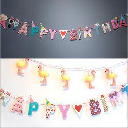 Joyeux Anniversaire Heureux Partie DIY Lettre Arts et Artisanat Décoratif Papier Drapeaux avec Fil pour les Vacances et D'anniversaire