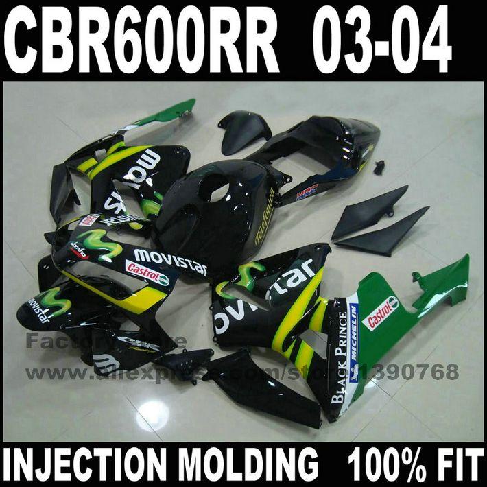 Hohe qualität motorrad teile für CBR 600 RR 2003 2004 CBR600RR F5 verkleidungen set 03 04 CBR600 schwarz movistar verkleidung kits