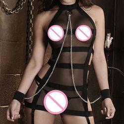 Neue Ankunft Sexy lingerie hot schwarz bandagen splice perspektive Gaze Handschellen insassen SM cosplay erotische dessous sexy kostüme