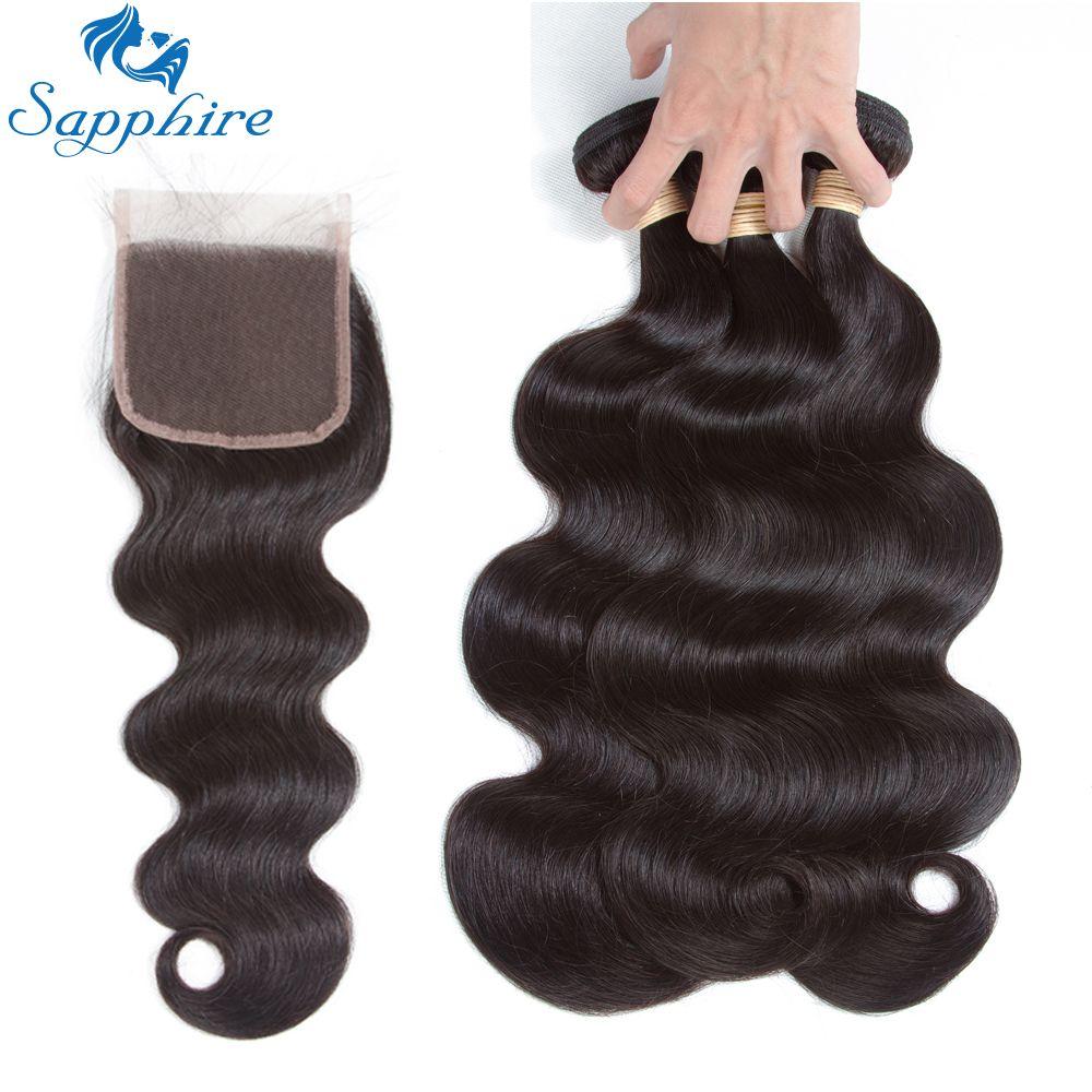Sapphire Brazilian Body Wave Remy Human Hair Bundles With Lace Closure Natural Color Salon Hair High Ratio Longest Hair PCT 15%