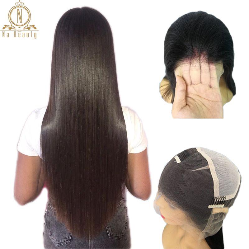 Perruques de dentelle pleine transparente sans colle pré plumé ligne de cheveux naturelle avec des cheveux de bébé droite péruvienne Remy cheveux perruques blanchies noeuds