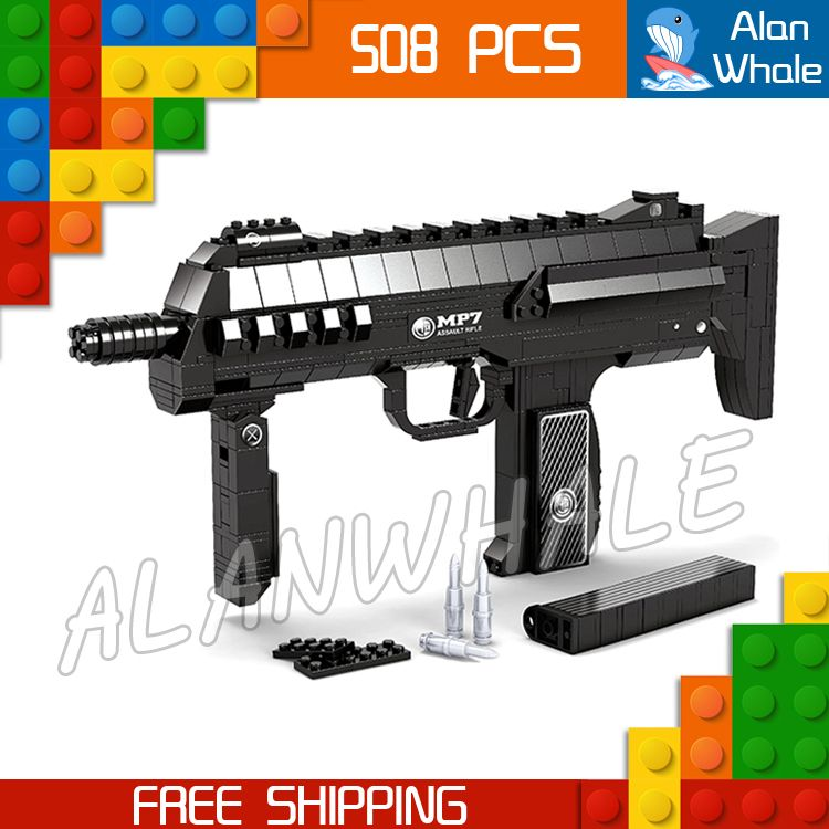 508pcs Model MP7 Toy Tommy Machine Gun Weapon For Military Assault Soldiers Building Kit Blocks Toys Brick Compitable with Lego