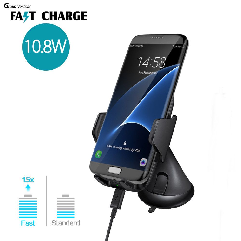 Group Vertical Car Holder 10W Fast Charge Qi Wireless Car Charger For iso androi Galaxy S7 Edge Smart Phone Car Vent Mount Stand