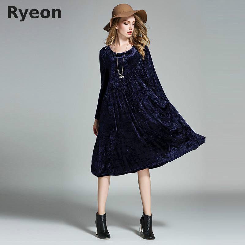 Ryeon Big Size Spring Winter Velvet Women Dresses Vintage A-line Solid Full Sleeve Pockets Casual Dress Maternity Dresses