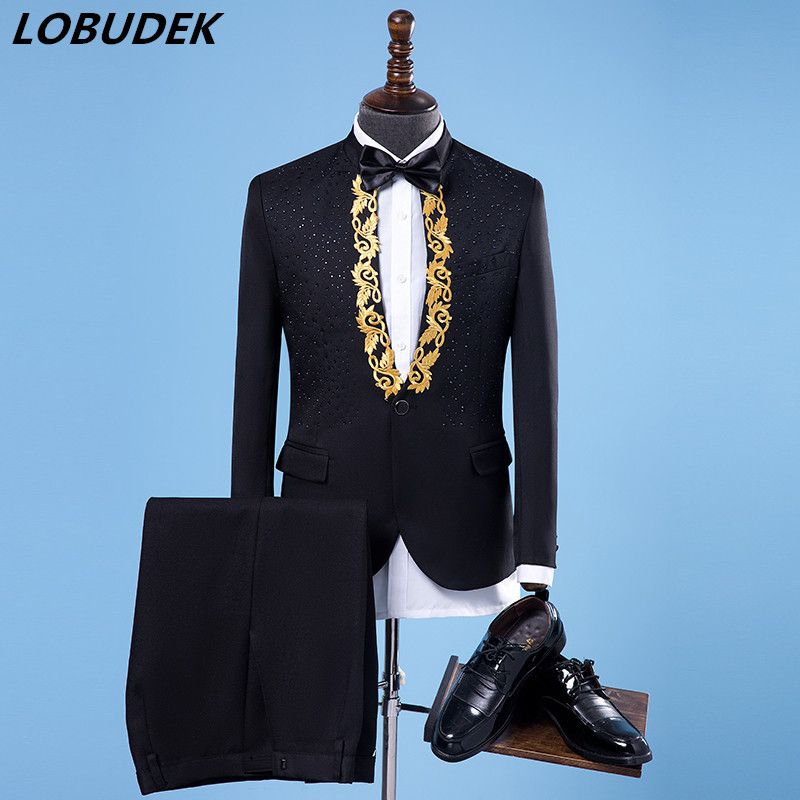 The Latest Male slim Suit Costumes Flashing Crystals Diamond Blazers Trousers sets Nightclub singer stage outfit Host costumes