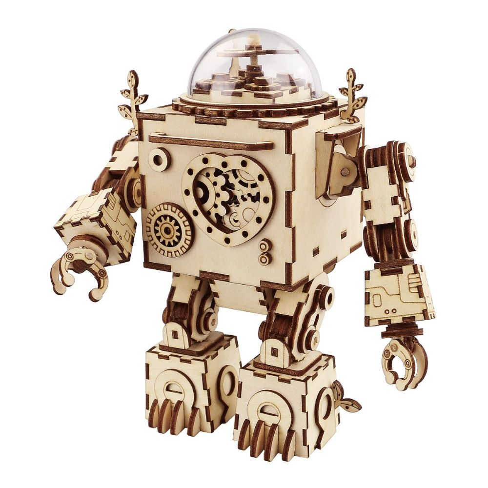 Robotime DIY <font><b>Action</b></font> & Toy Figure Steampunk Rotatable Robot Wooden Clockwork Music Box Perfect Gifts For Friends Children AM601