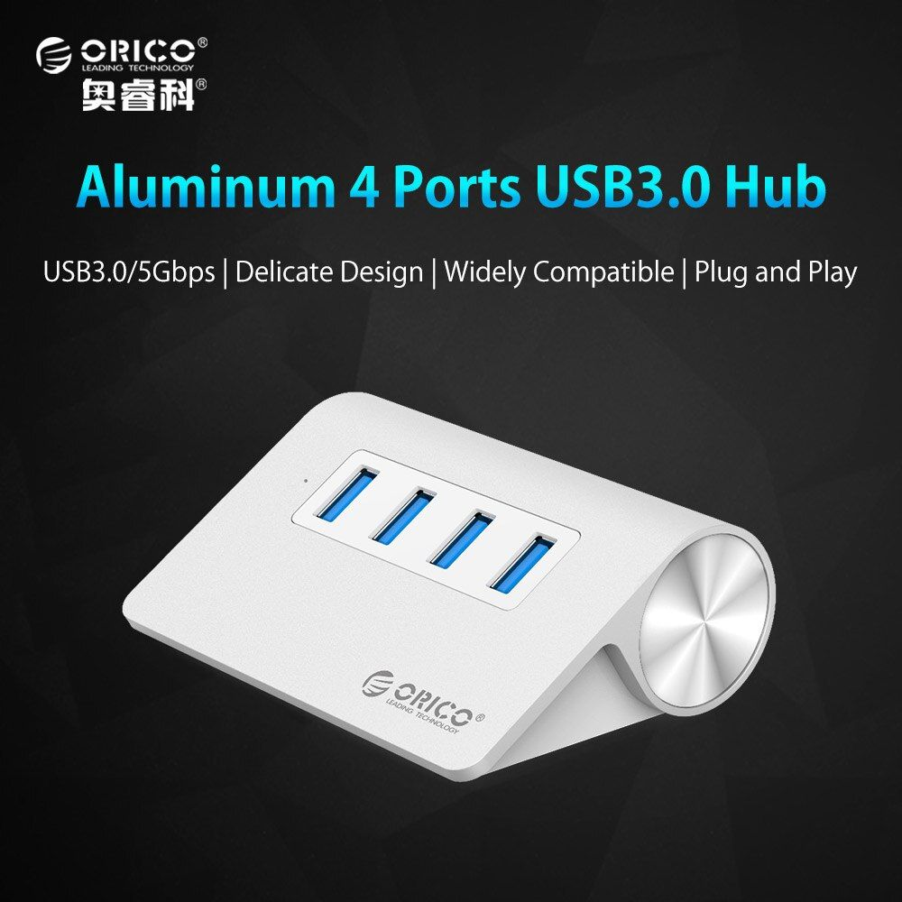 USB HUB, ORICO M3H4 Aluminium Haute Vitesse Mini 4 Port USB 3.0 HUB avec Vl812 Chipsets 1 M Câble