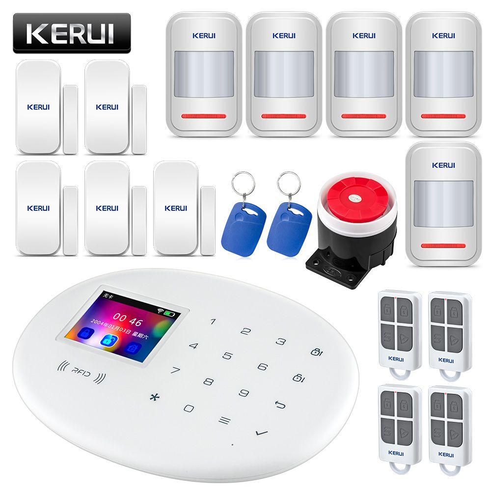 KERUI W20 Wireless RFID SIM GSM Burglar Sensor Home Security WIFI Alarm System IOS Android APP Control LCD Touch Keyboard