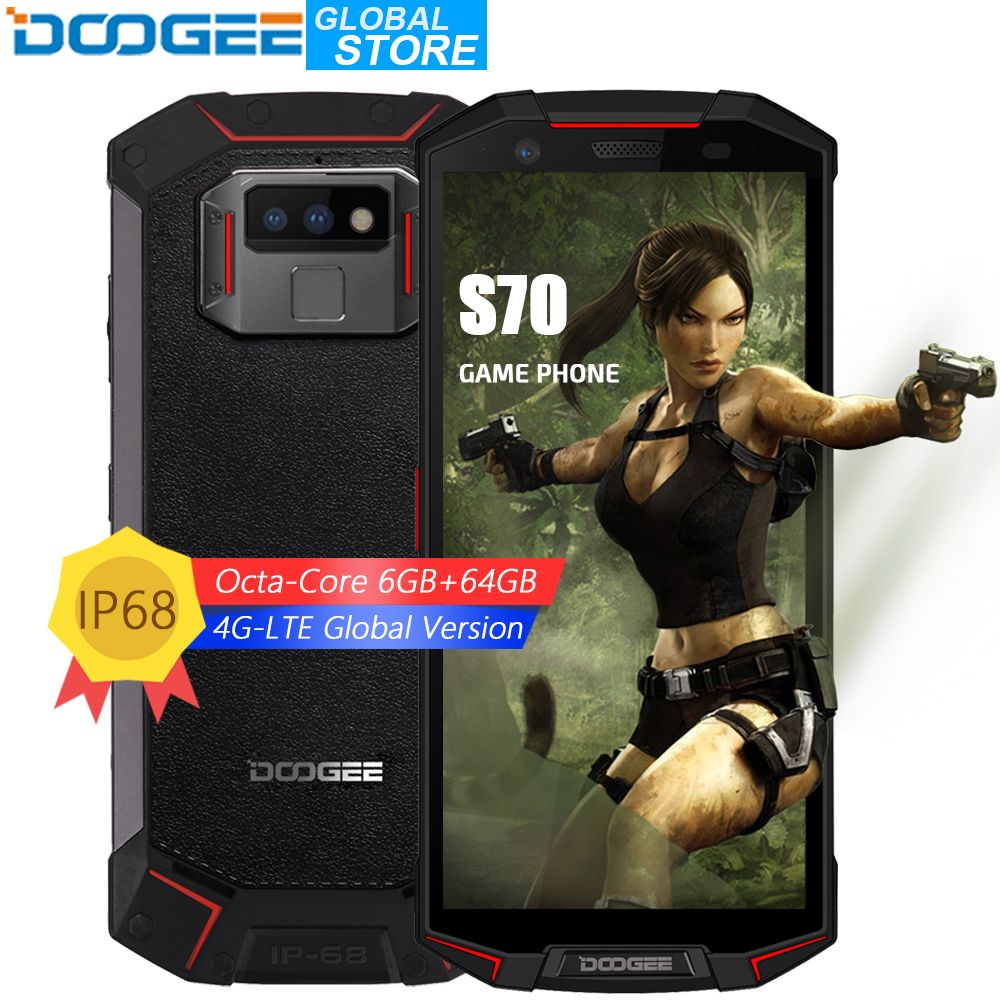 DOOGEE S70 IP68/IP69K Waterproof Helio P23 Octa Core 6GB 64GB LTE Wireless Charge NFC 5500mAh 12V2A Quick Charge 5.99'' FHD 16