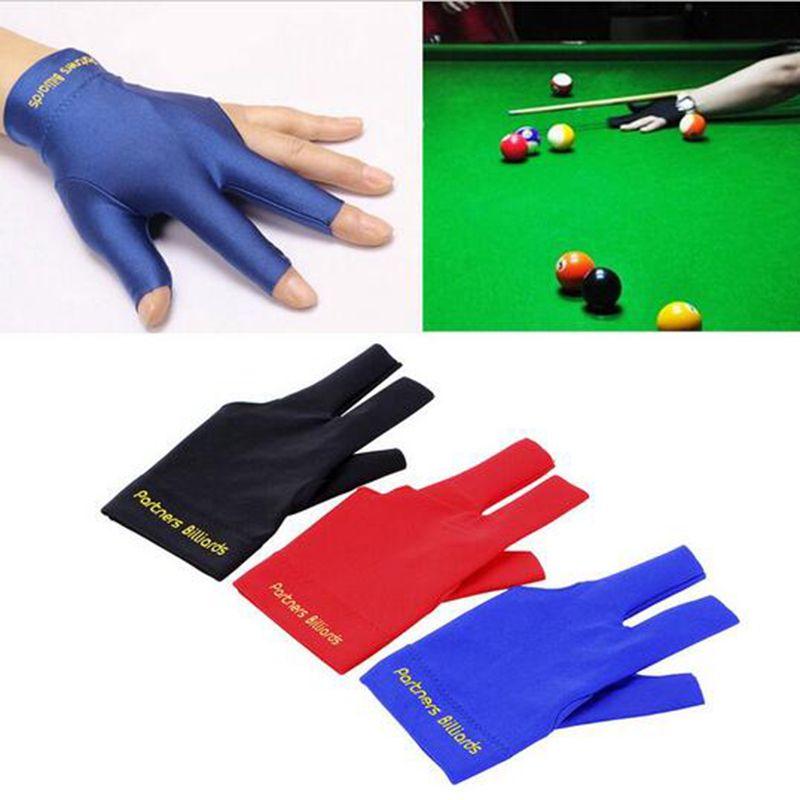 Neue Snooker Billard Handschuhe Hochwertigen Spandex Snooker Billard Handschuh Queue Pool Links Hand Offenen Drei Finger Bälle Zubehör