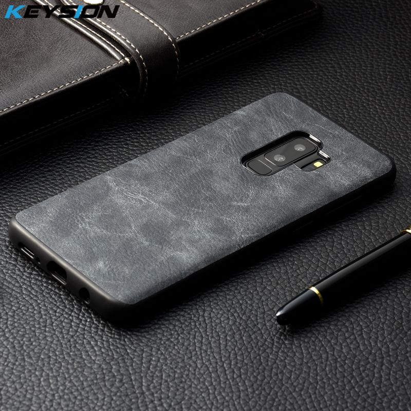 KEYSION Phone Case for Samsung Galaxy S9 S9 Plus Luxury Vintage PU Leather Case TPU silicone Soft Edge Back cover for S9 S9+