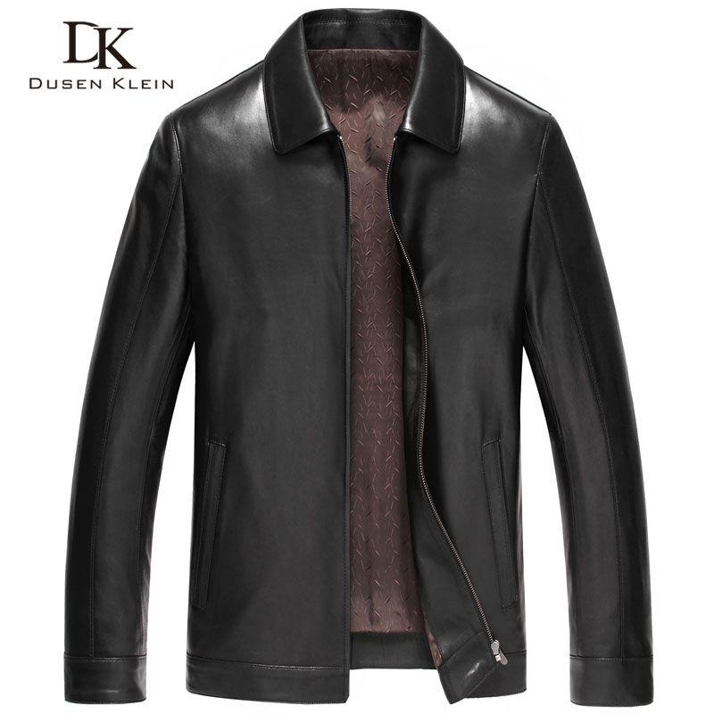 Дюсенов Klein Для мужчин Пояса из натуральной кожи куртка Верхняя одежда на осень черный/Slim/простой Бизнес Стиль/дубленка 14z6608