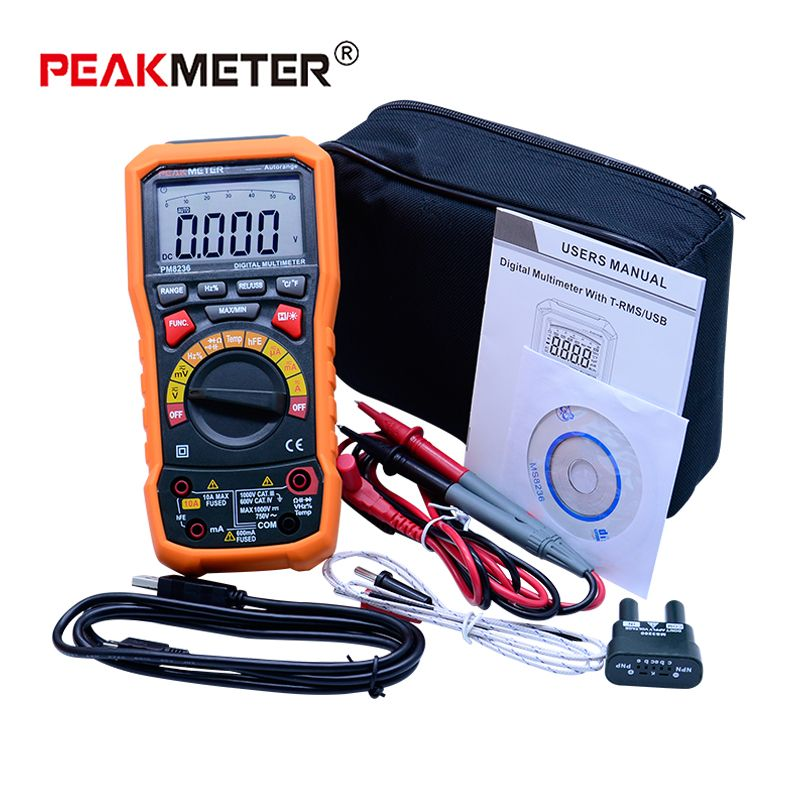 PEAKMETER PM8236 Auto Range Auto Power off Digital Multimeter with Temperature Test and Data Logger
