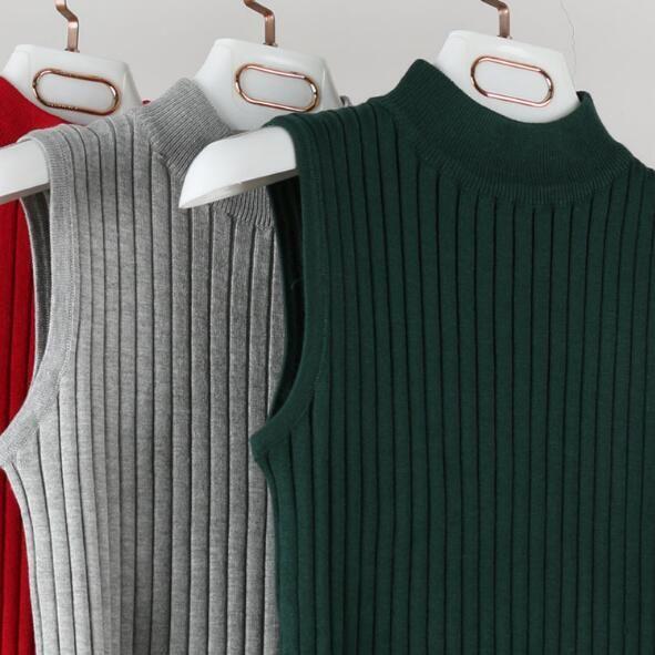 Nouveau 2018 Haute Qualité Printemps Eté Femmes Col montant Top Col Roulé Sans Manches T-shirt Mince Tricoté Gilet Femelle Tee Tricots 1362